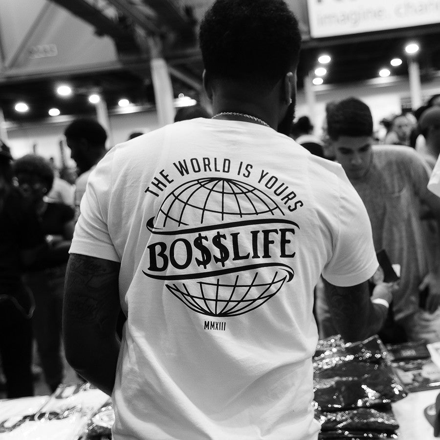 "BossLife ""World"" Tee - White/Black - BossLifeWorld  - 1"