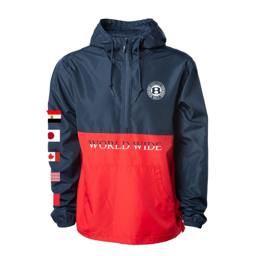 "BossLife ""World Wide"" Windbreaker - Navy/Red/Multi"