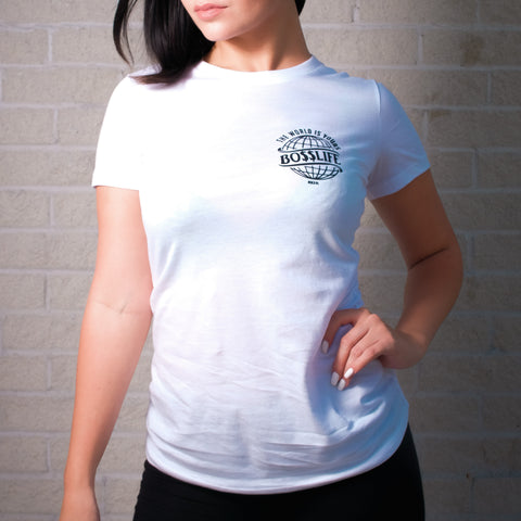 "BossLife ""World"" Women's Tees - White/black"