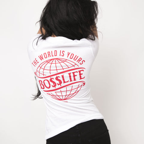 "BossLife ""World"" Women's Tee - White/Red"