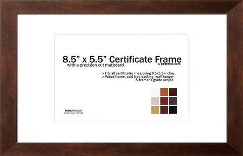"Matted CompTIA Frame for CompTIA Certificates, PE Certificates, Postcards - 8.5"" x 5.5"" Frame With Mat"
