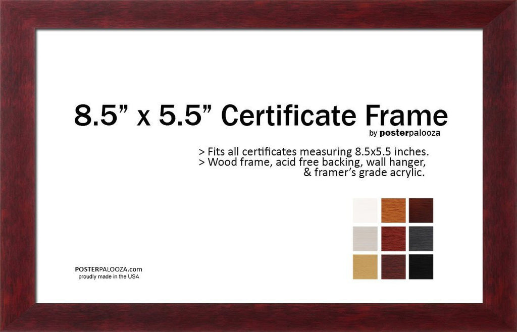 85 X 55 Certificate Photo Document Art Print Frame