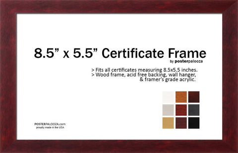 5.5 x 8.5 Certificate, Photo, Document, Art Print Frame