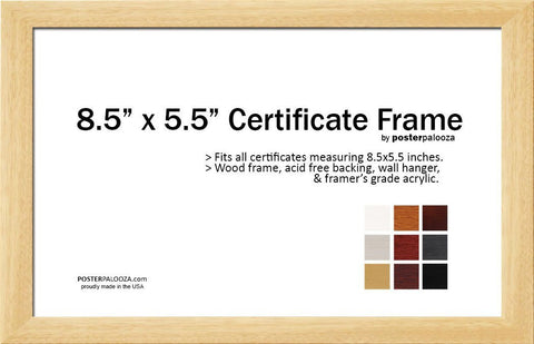 "8.5"" x 5.5"" Professional Engineer Certificate Frame"