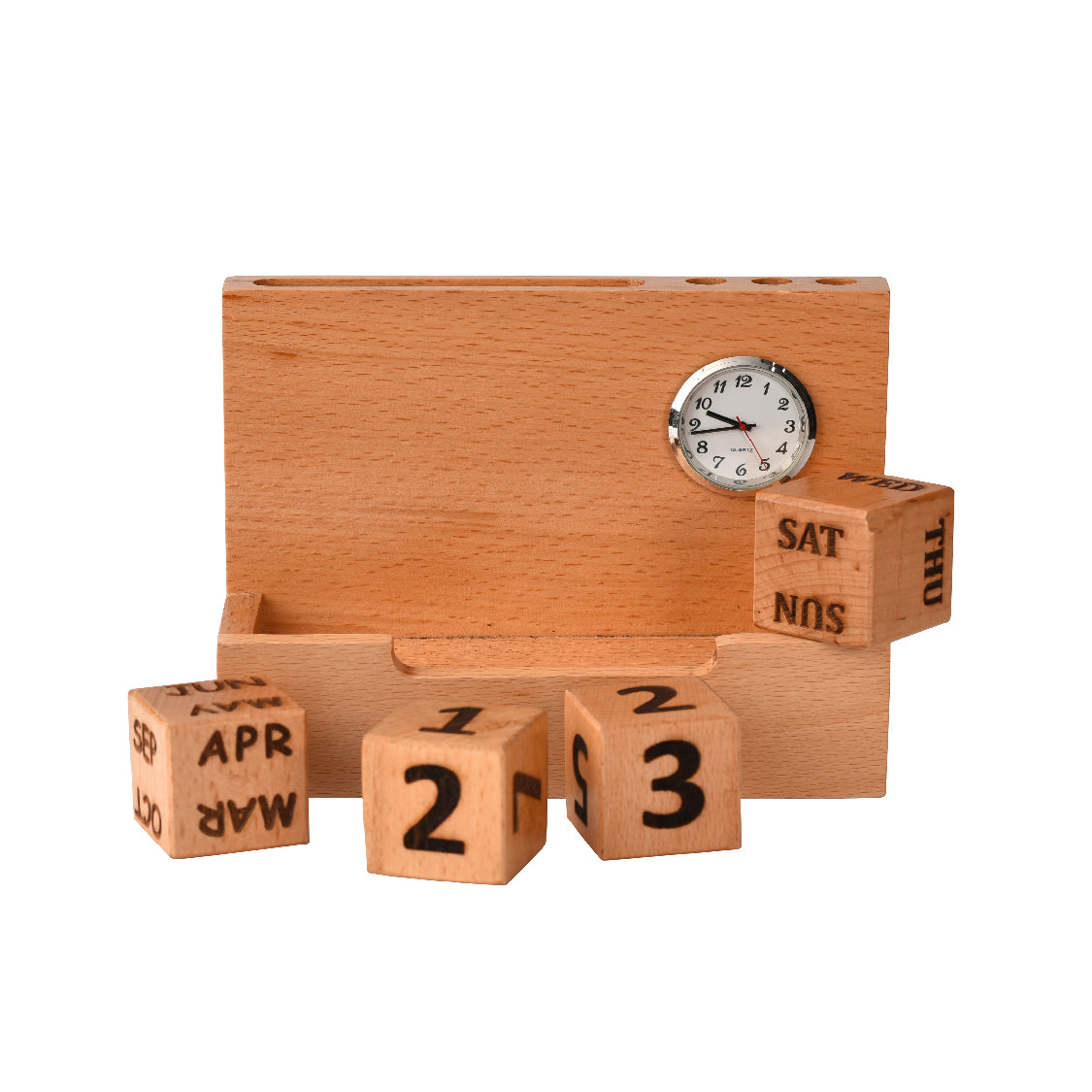 Clock Calendar with Card & Pen Holder