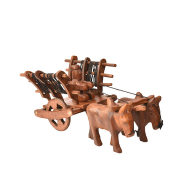 Wooden Cow Trolley Showpiece