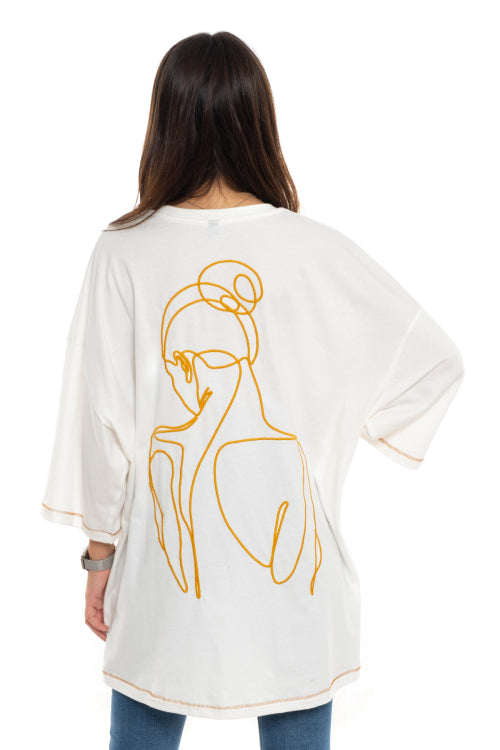Unisex White OVERSIZE Embroidery Woman Old school T-Shirt