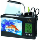 Pet Life ® All-In-One Digital Desktop Aquarium and Stationary Office Organizer Black