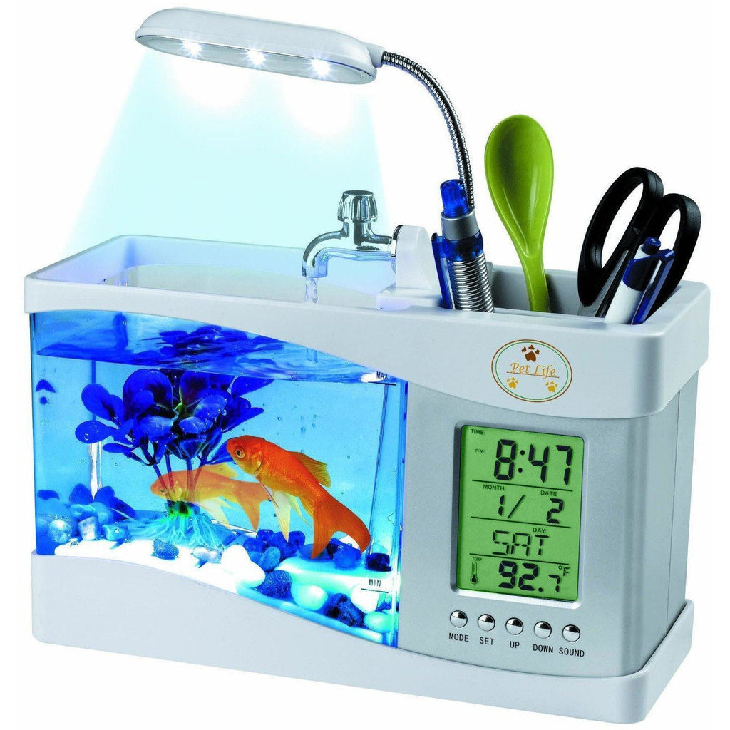 Pet Life ® All-In-One Digital Desktop Aquarium and Stationary Office Organizer White