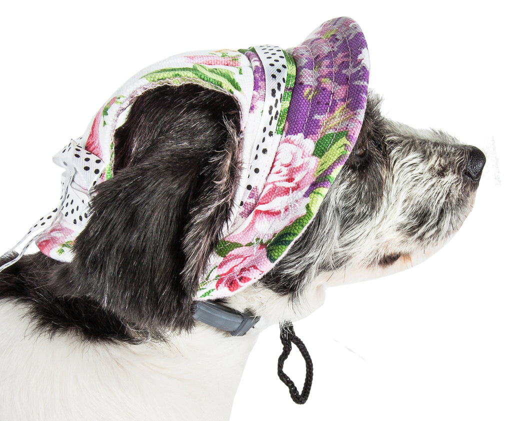Pet Life ®  'Botanic Bark' Floral UV Protectant Adjustable Fashion Canopy Brimmed Dog Hat Cap Medium