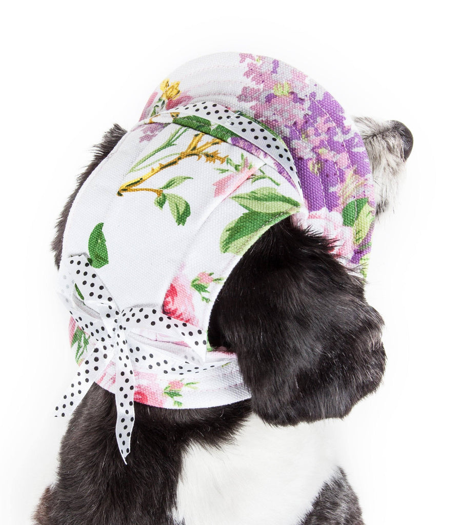 Pet Life ®  'Botanic Bark' Floral UV Protectant Adjustable Fashion Canopy Brimmed Dog Hat Cap