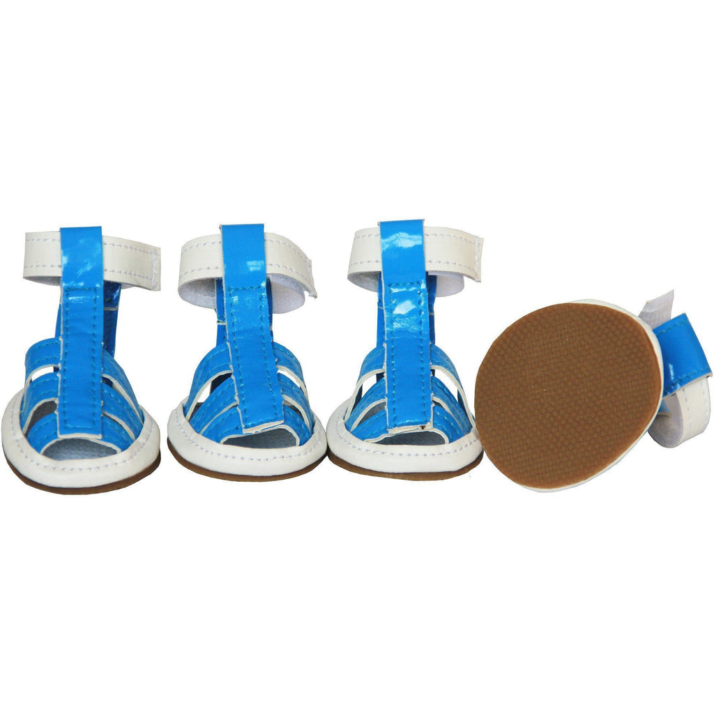 Pet Life ® 'Buckle-Supportive' PVC Waterproof Pet Dog Shoes Sandals - Set Of 4 X-Small Ocean Blue