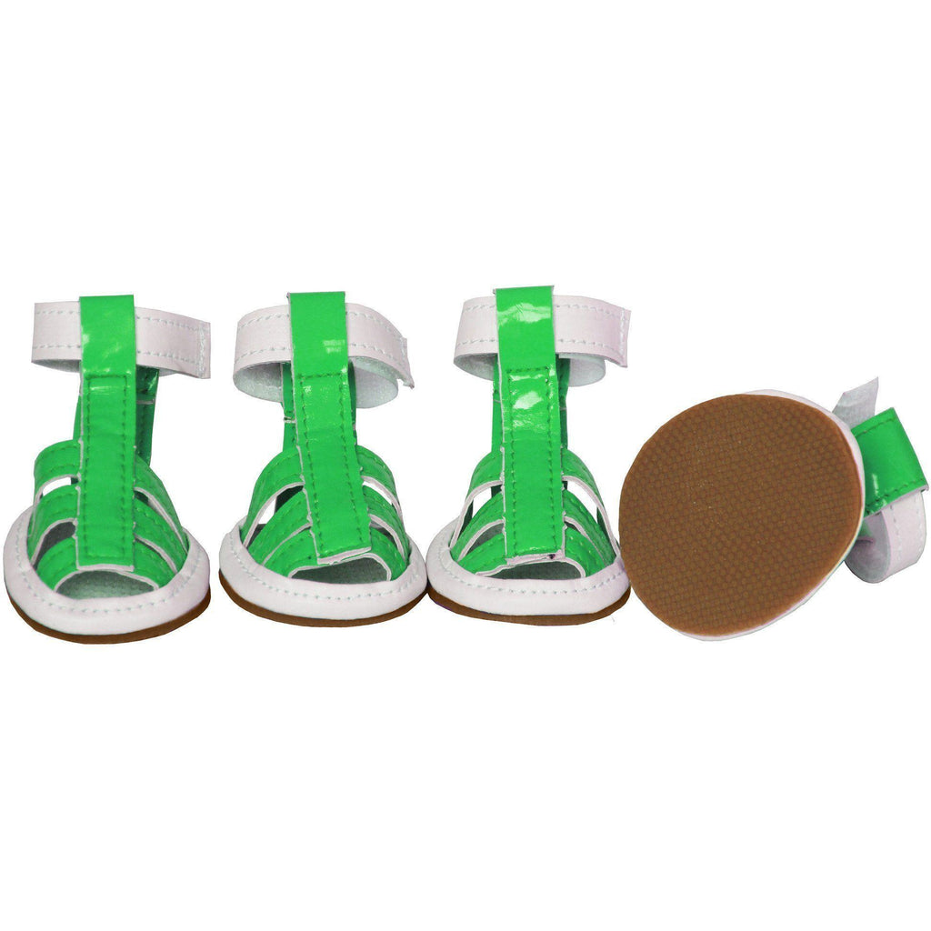 Pet Life ® 'Buckle-Supportive' PVC Waterproof Pet Dog Shoes Sandals - Set Of 4 X-Small Neon Green