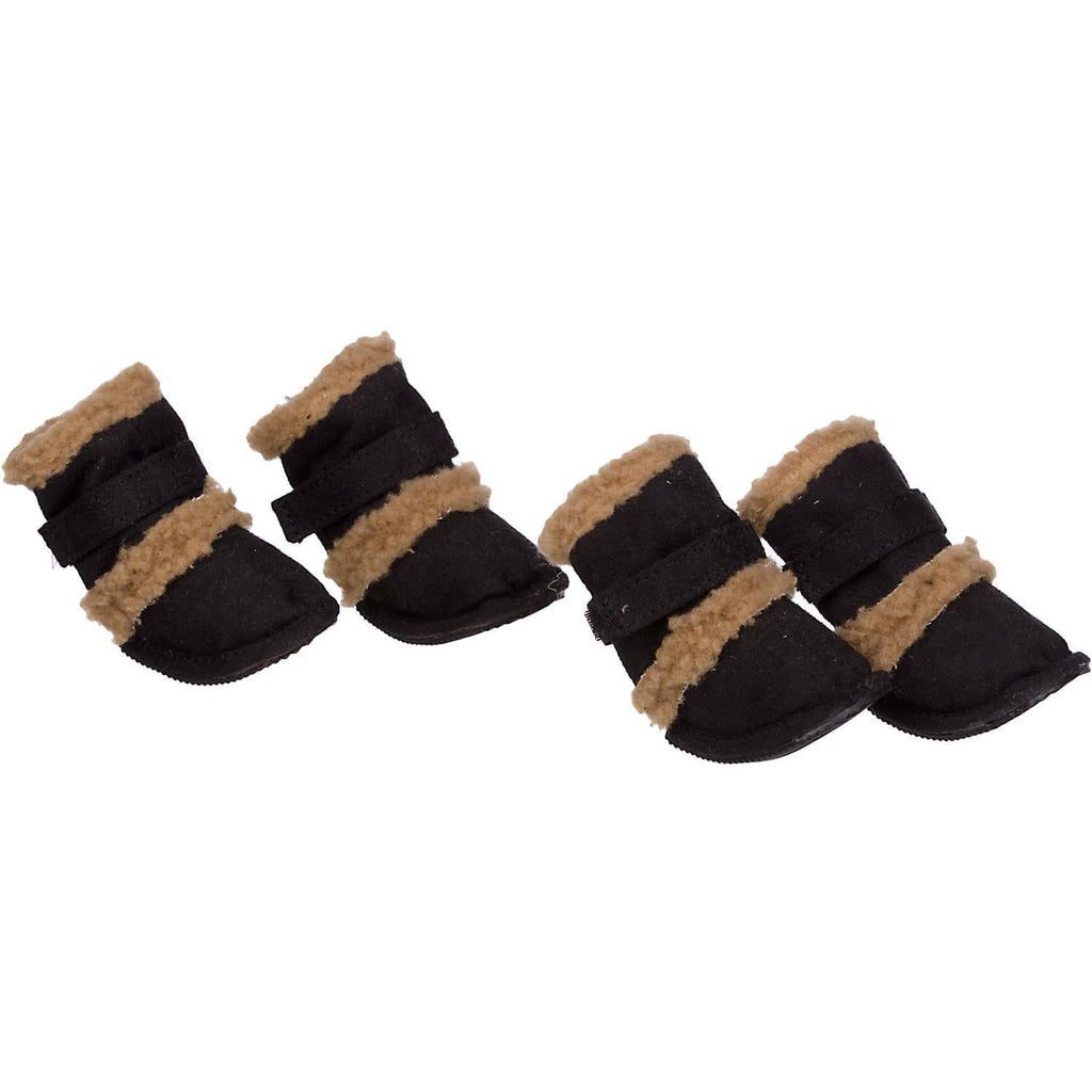 Pet Life ® 'Duggz' 3M Insulated Winter Fashion Dog Shoes Booties - Set of 4 X-Small Black & Brown