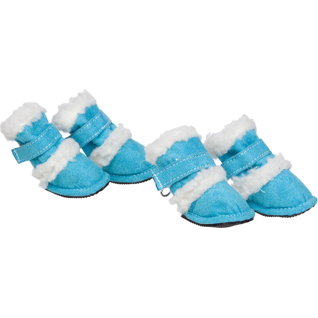 Pet Life ® 'Duggz' 3M Insulated Winter Fashion Dog Shoes Booties - Set of 4 X-Small Blue & White