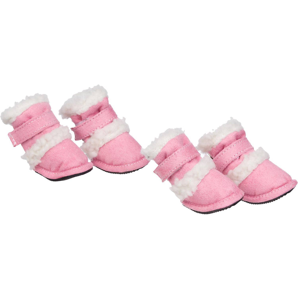 Pet Life ® 'Duggz' 3M Insulated Winter Fashion Dog Shoes Booties - Set of 4 X-Small Pink & White