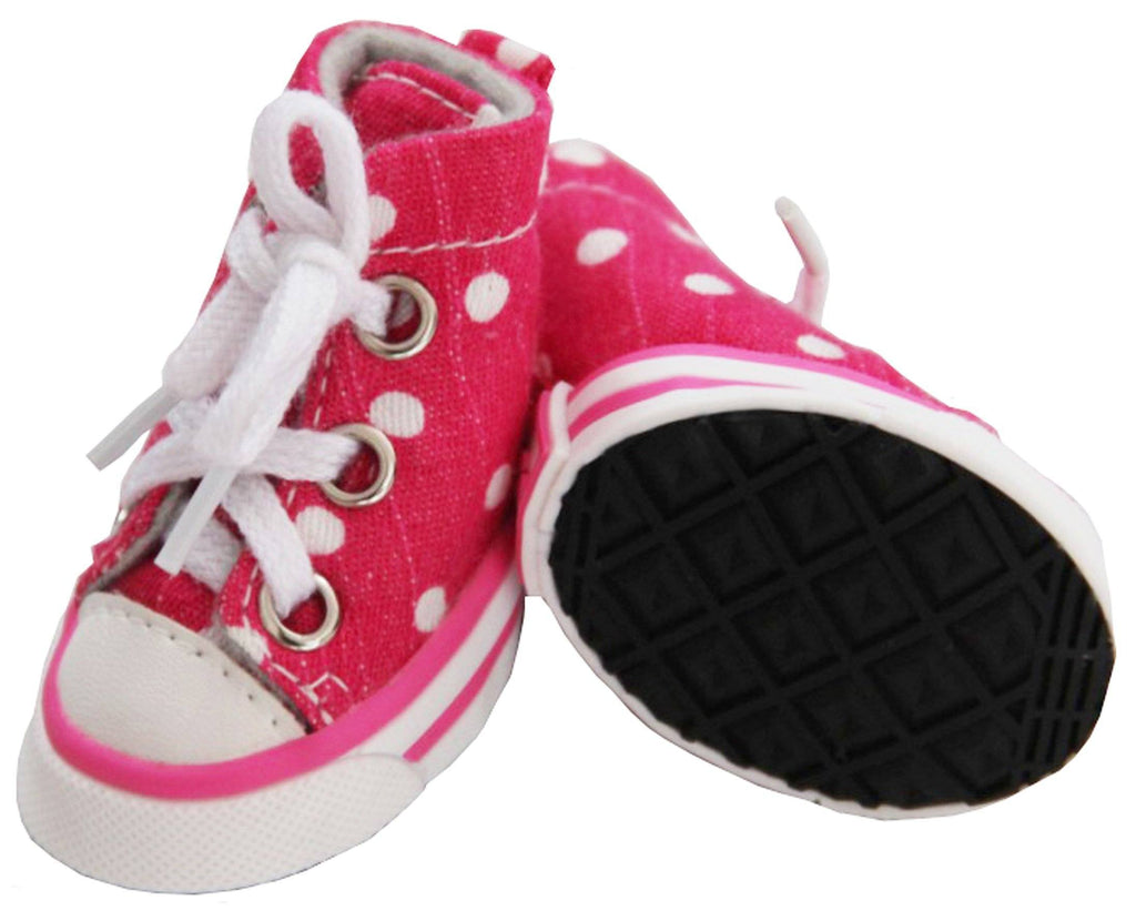 Pet Life ® 'Extreme-Skater' Canvas Casual Grip Pet Dog Shoes Sneakers - Set Of 4 X-Small Pink/Polka