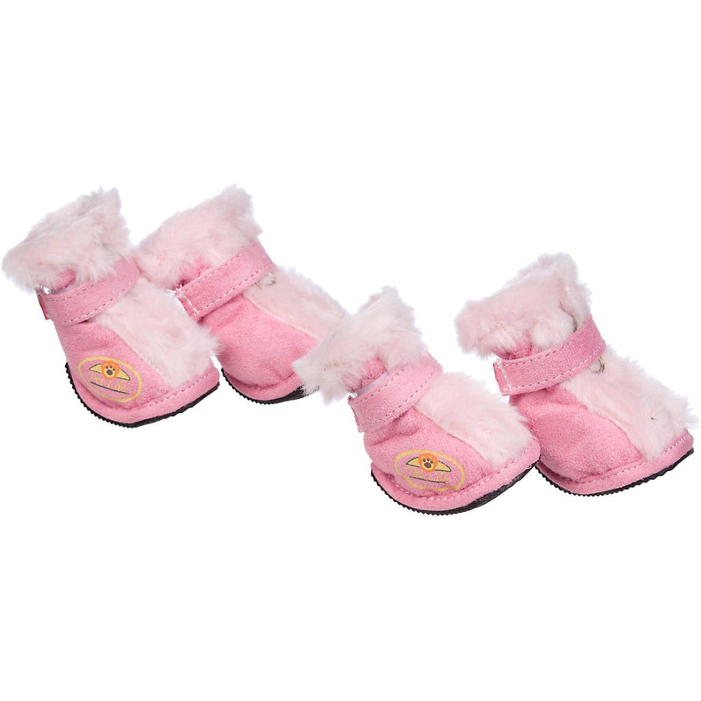 Pet Life ® Fur-Comfort 3M Insulated Fashion Fur and Suede Winter Dog Shoes Boots - Set of 4 X-Small Pink