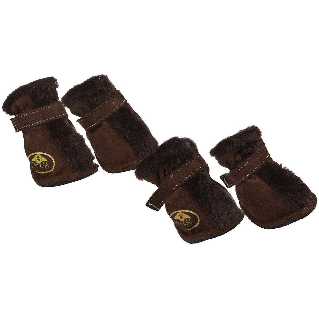 Pet Life ® Fur-Comfort 3M Insulated Fashion Fur and Suede Winter Dog Shoes Boots - Set of 4 X-Small Dark Brown
