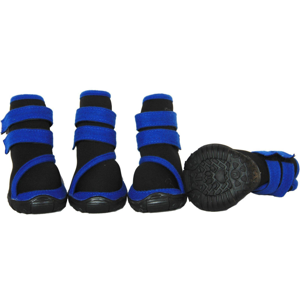 Pet Life ® 'Performance-Coned' Premium Stretch High Ankle Support Dog Shoes - Set Of 4 X-Small Black/Blue
