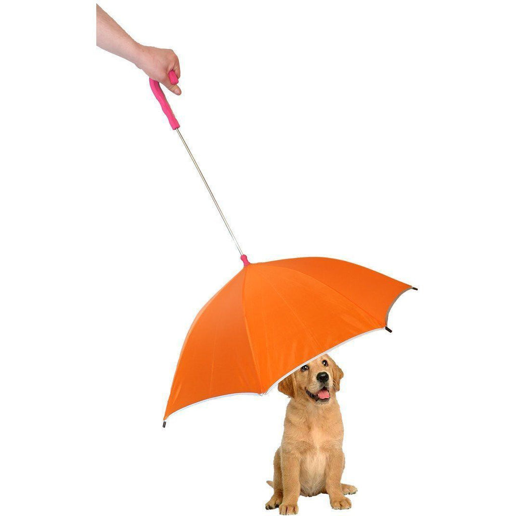 Pet Life ® Pour-Protection Rain Pet Dog Umbrella with Reflective Lining and Leash Connector