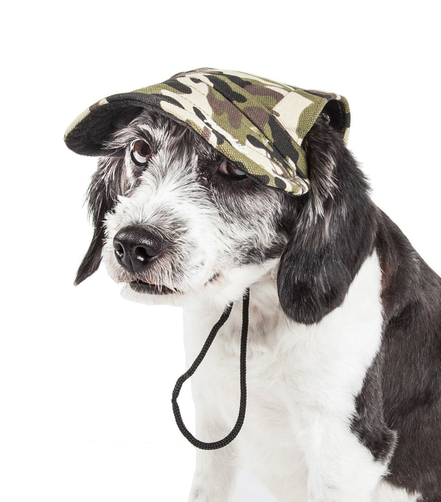 Pet Life ®  'Torrential Downfour' Camouflage UV Protectant Adjustable Fashion Dog Hat Cap Medium