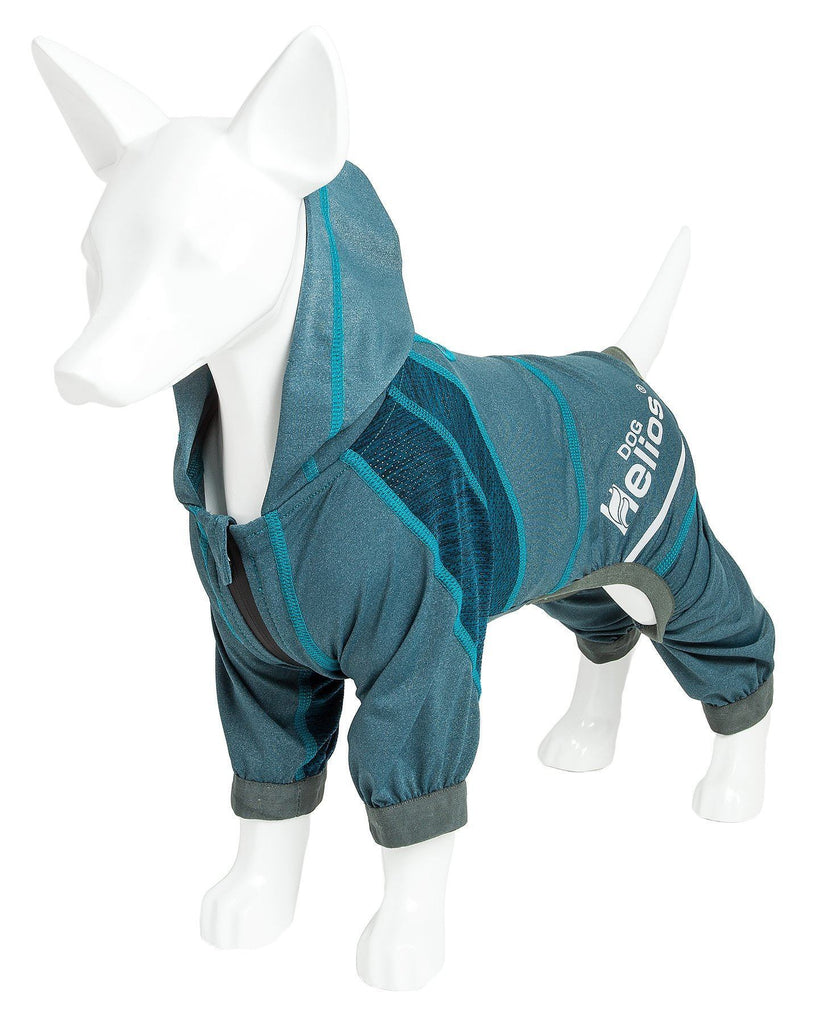 Dog Helios ® 'Namastail' Lightweight 4-Way Stretch Breathable Full Bodied Performance Yoga Dog Hoodie Tracksuit X-Small Teal / Blue