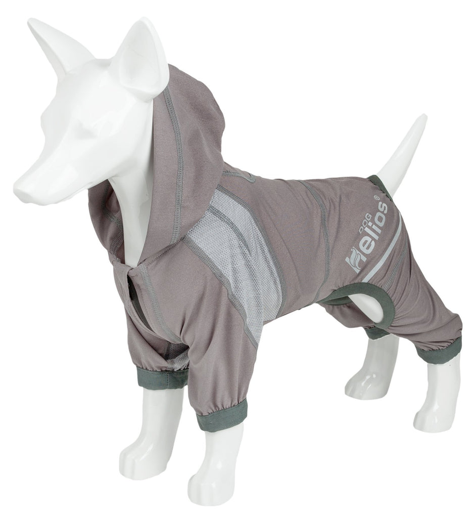Dog Helios ® 'Namastail' Lightweight 4-Way Stretch Breathable Full Bodied Performance Yoga Dog Hoodie Tracksuit X-Small Grey
