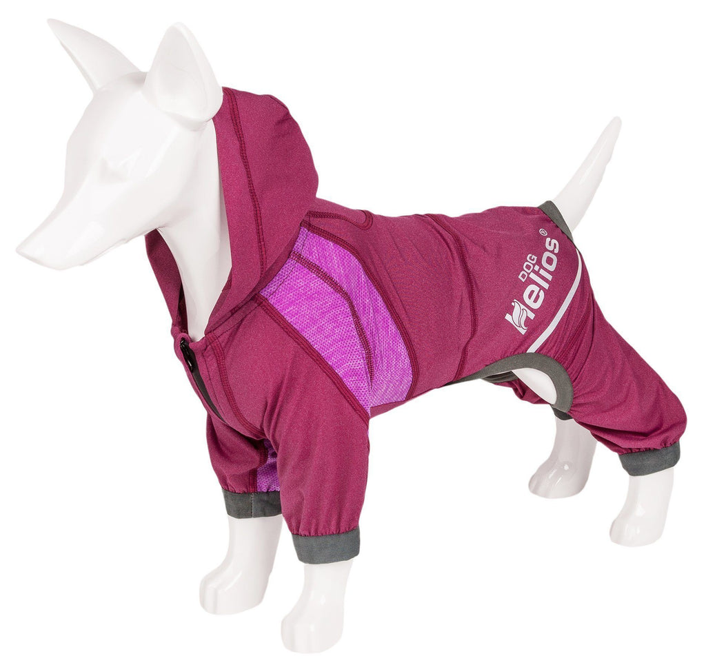 Dog Helios ® 'Namastail' Lightweight 4-Way Stretch Breathable Full Bodied Performance Yoga Dog Hoodie Tracksuit X-Small Pink