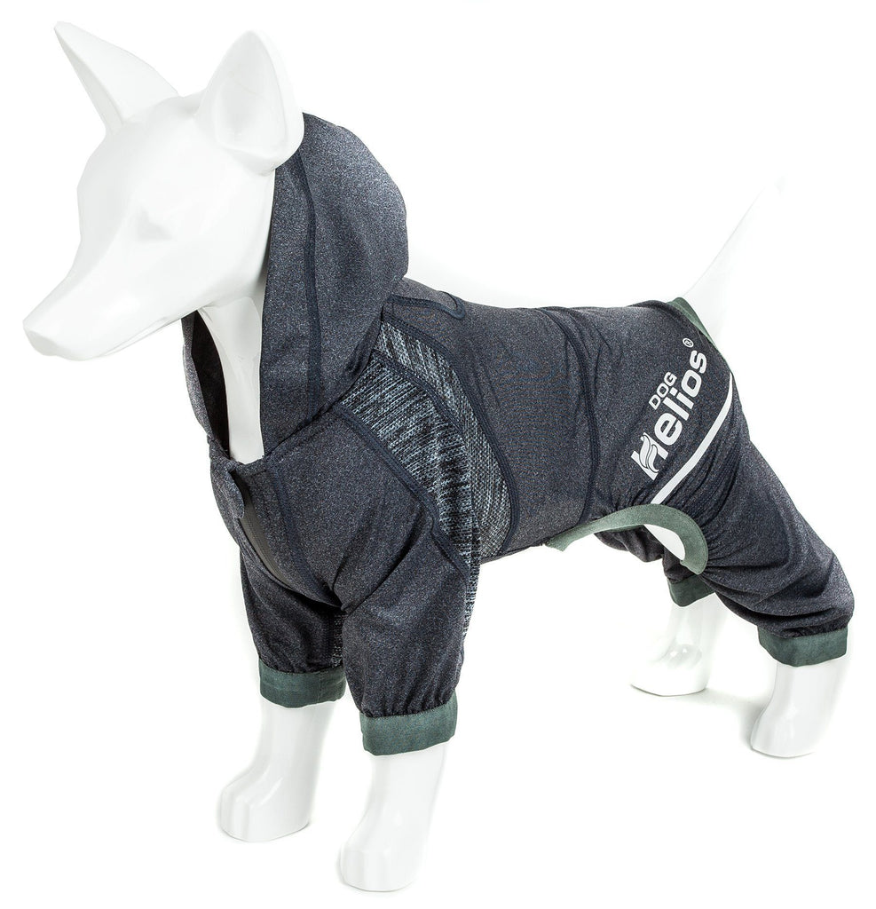 Dog Helios ® 'Namastail' Lightweight 4-Way Stretch Breathable Full Bodied Performance Yoga Dog Hoodie Tracksuit X-Small Charcoal Black