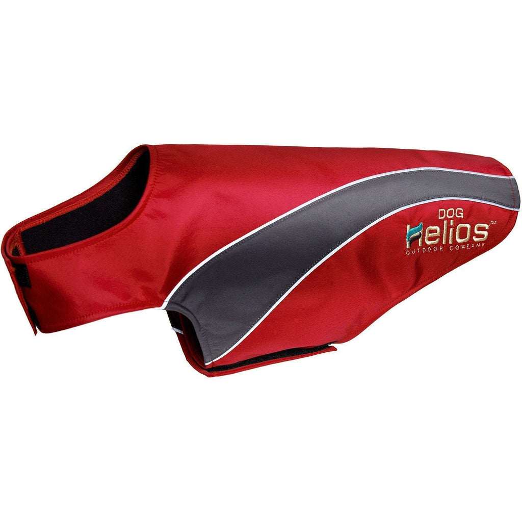 Dog Helios ® Octane Softshell Neoprene Satin Reflective Dog Jacket w/ Blackshark technology X-Small Red, Grey