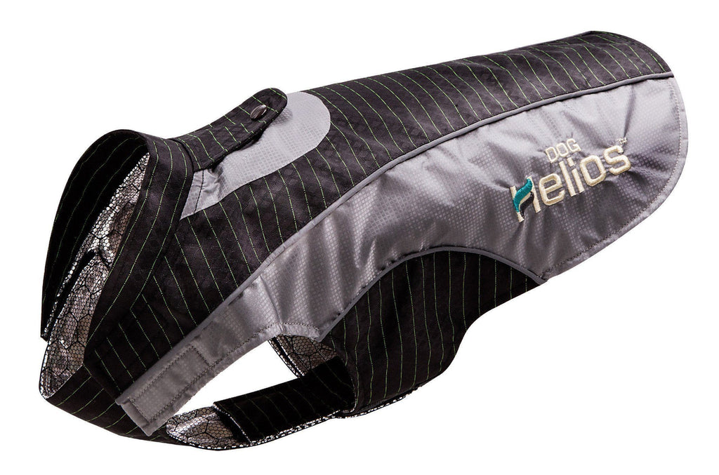 Dog Helios ® 'Reflecta-Bolt' Sporty Performance Tri-Velcro Waterproof Pet Dog Coat Jacket W/ Blackshark Technology X-Small Black / Grey