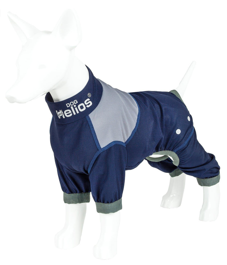 Dog Helios ® 'Tail Runner' Lightweight 4-Way-Stretch Breathable Full Bodied Performance Dog Track Suit X-Small Blue And Grey