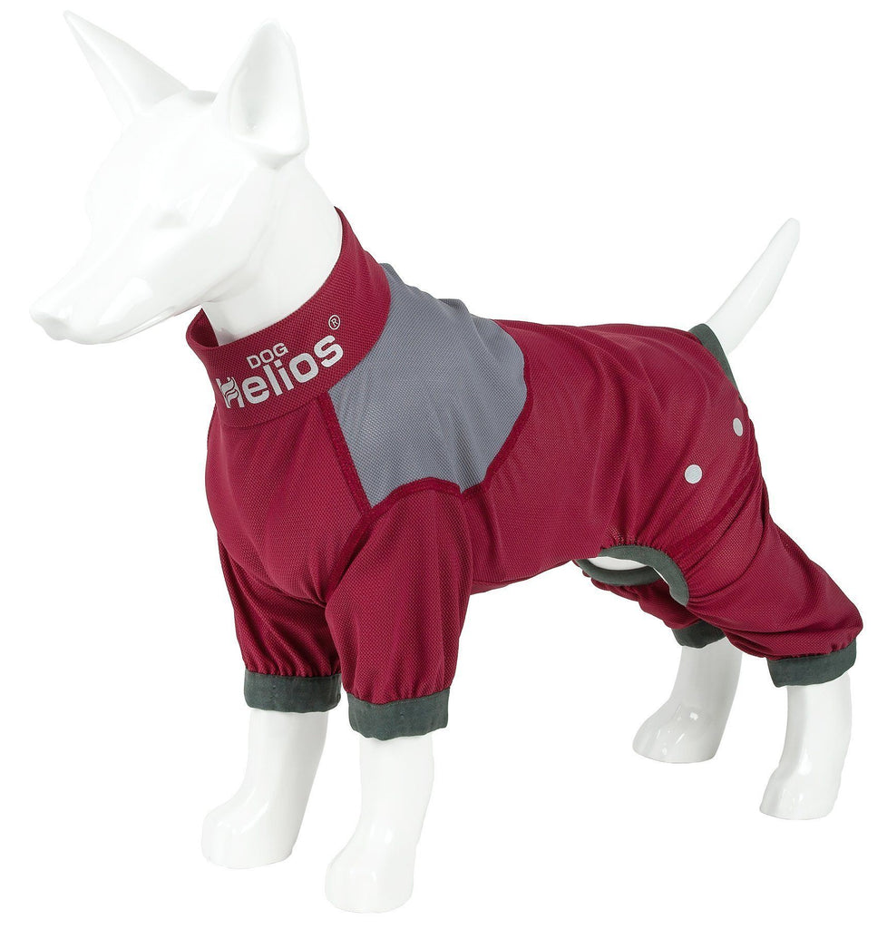 Dog Helios ® 'Tail Runner' Lightweight 4-Way-Stretch Breathable Full Bodied Performance Dog Track Suit X-Small Red And Grey