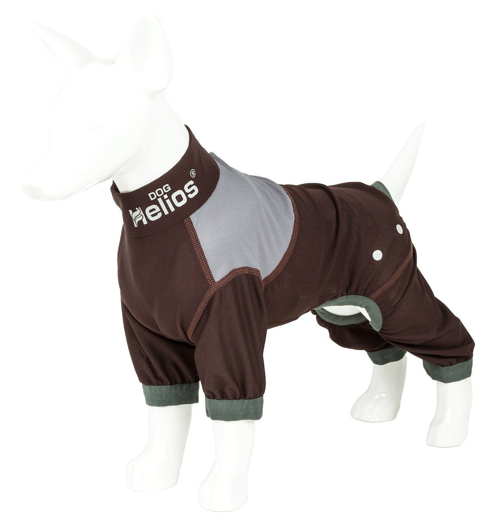 Dog Helios ® 'Tail Runner' Lightweight 4-Way-Stretch Breathable Full Bodied Performance Dog Track Suit X-Small Brown And Grey