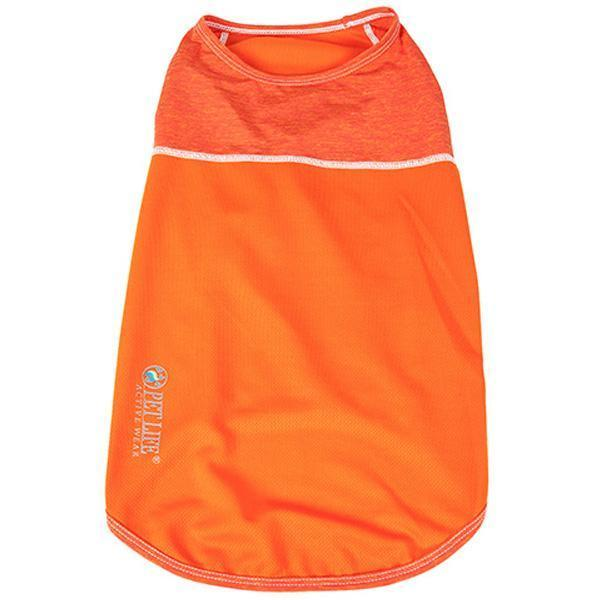 Pet Life ®  Active 'Aero-Pawlse' Heathered Quick-Dry And 4-Way Stretch-Performance Dog Tank Top T-Shirt X-Small Orange