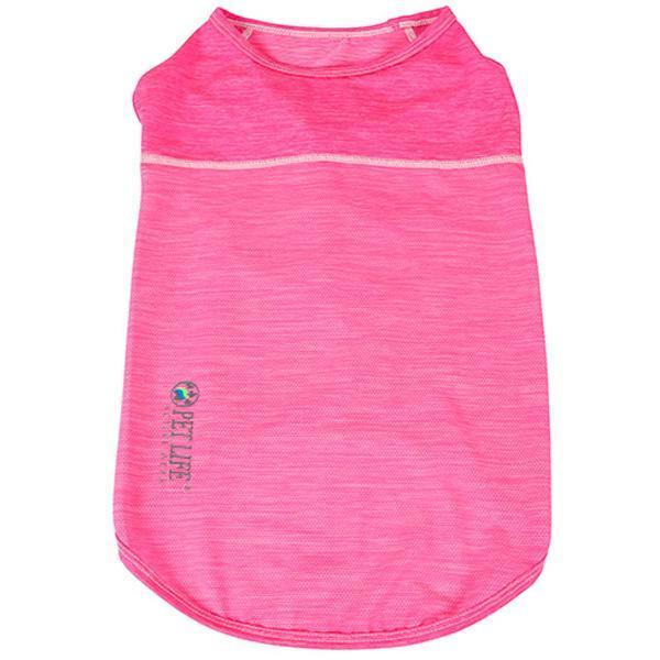Pet Life ®  Active 'Aero-Pawlse' Heathered Quick-Dry And 4-Way Stretch-Performance Dog Tank Top T-Shirt X-Small Hot Pink/Light Pink
