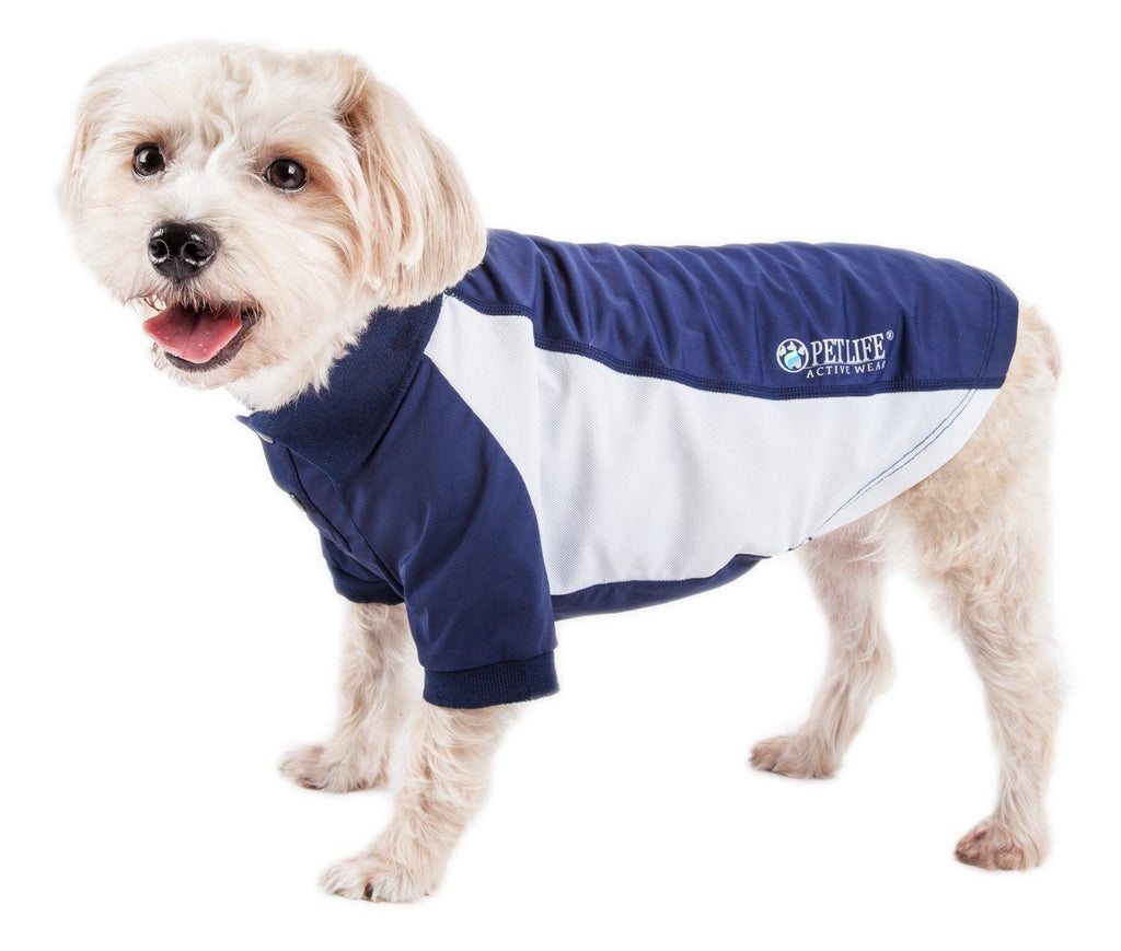 Pet Life ®  Active 'Barko Pawlo' Relax-Stretch Wick-Proof Performance Dog Polo T-Shirt X-Small Navy With White