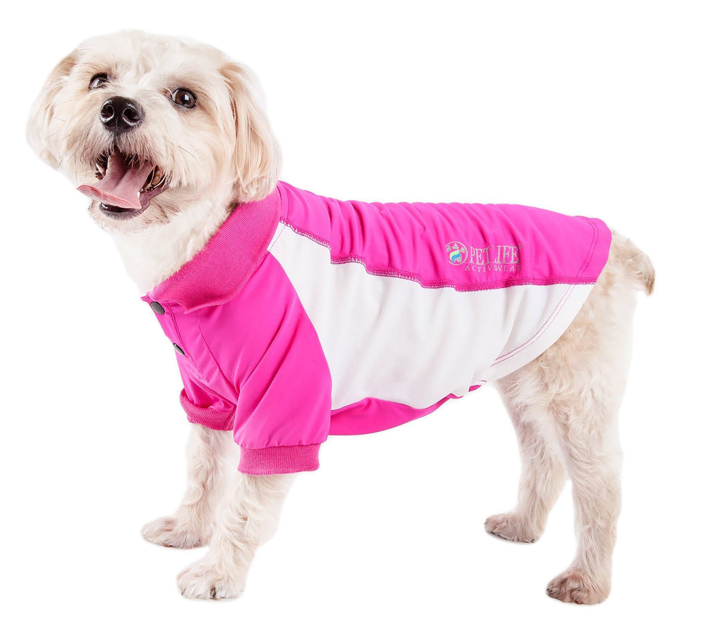 Pet Life ®  Active 'Barko Pawlo' Relax-Stretch Wick-Proof Performance Dog Polo T-Shirt X-Small Pink With Light Pink
