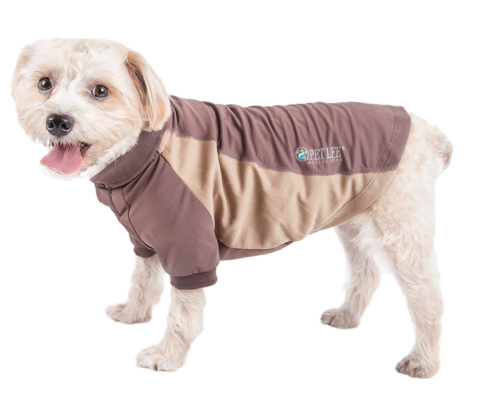 Pet Life ®  Active 'Barko Pawlo' Relax-Stretch Wick-Proof Performance Dog Polo T-Shirt X-Small Brown