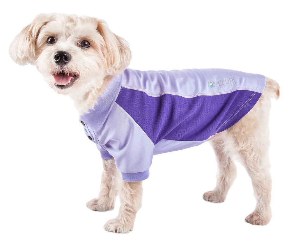 Pet Life ®  Active 'Barko Pawlo' Relax-Stretch Wick-Proof Performance Dog Polo T-Shirt X-Small Lavander