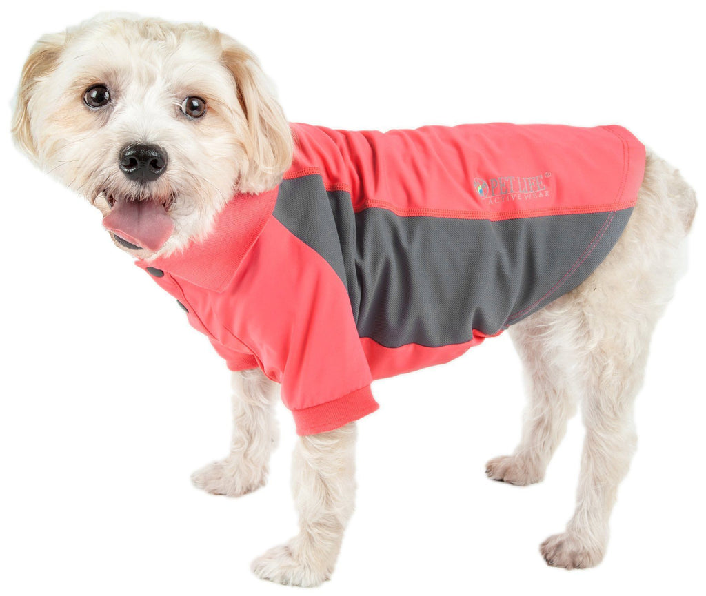 Pet Life ®  Active 'Barko Pawlo' Relax-Stretch Wick-Proof Performance Dog Polo T-Shirt X-Small Salmon Red And Dark Gray