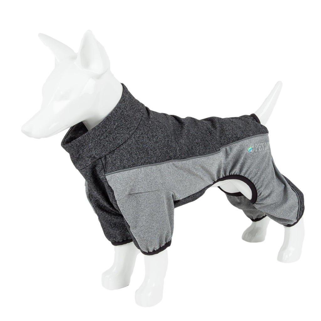 Pet Life ®  Active 'Chase Pacer' Heathered Performance 4-Way Stretch Two-Toned Full Body Warm Up X-Small Charcoal Gray And Black