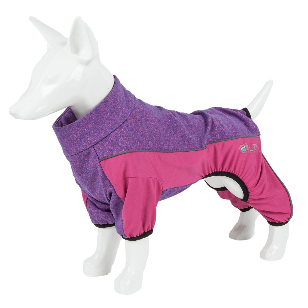 Pet Life ®  Active 'Chase Pacer' Heathered Performance 4-Way Stretch Two-Toned Full Body Warm Up X-Small Pink And Purple