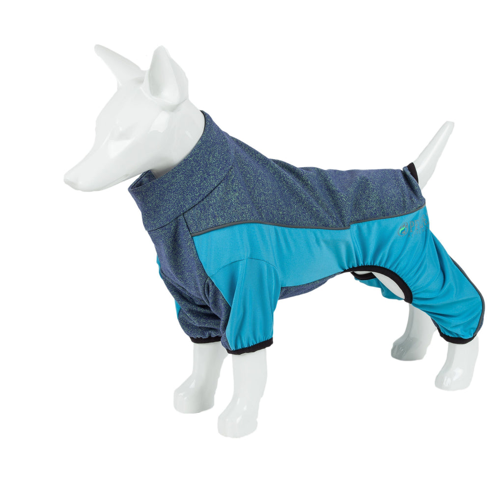 Pet Life ®  Active 'Chase Pacer' Heathered Performance 4-Way Stretch Two-Toned Full Body Warm Up X-Small Light Blue And Blue