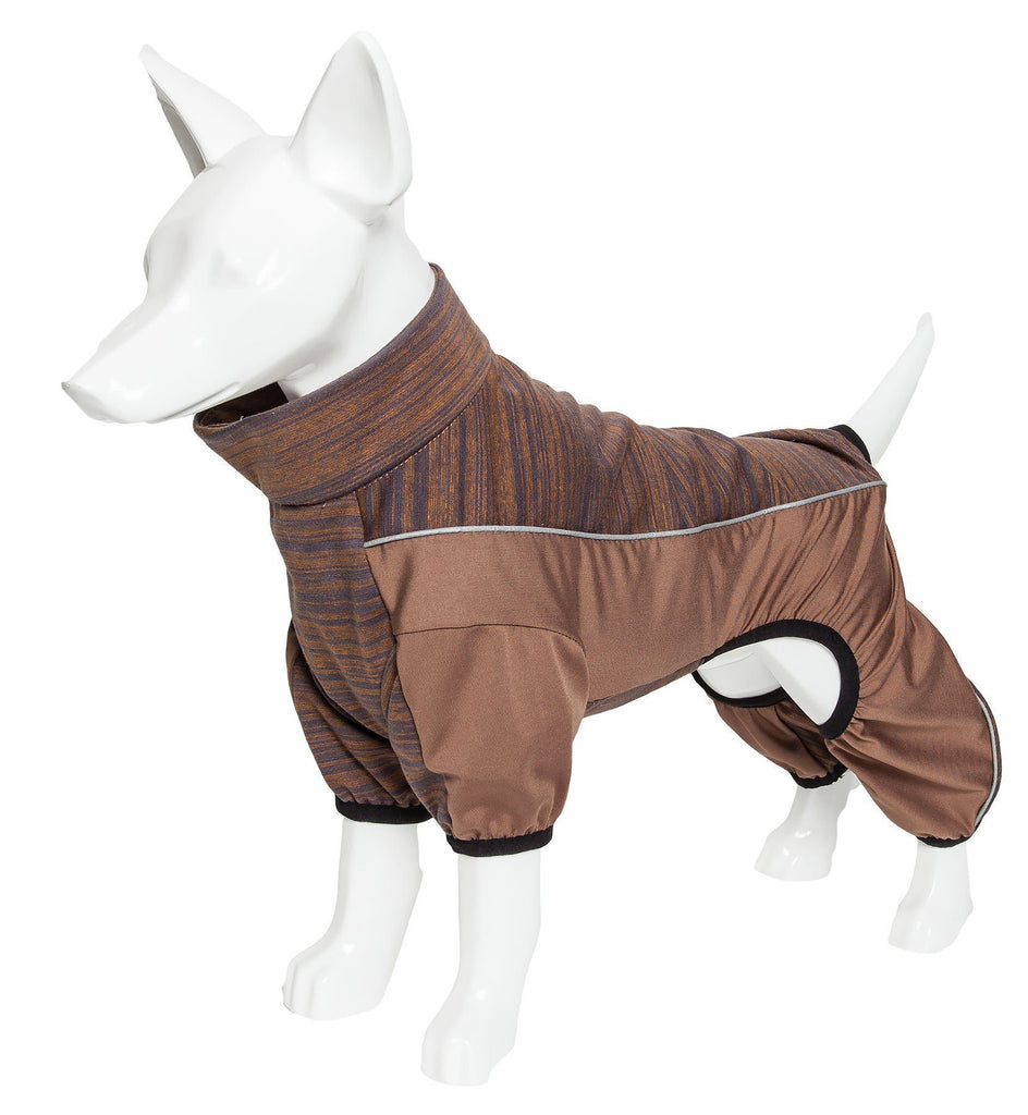 Pet Life ®  Active 'Chase Pacer' Heathered Performance 4-Way Stretch Two-Toned Full Body Warm Up X-Small Brown And Pattern