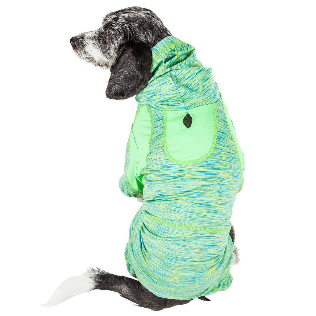 Pet Life ®  Active 'Downward Dog' Heathered Performance 4-Way Stretch Two-Toned Full Body Warm Up Hoodie