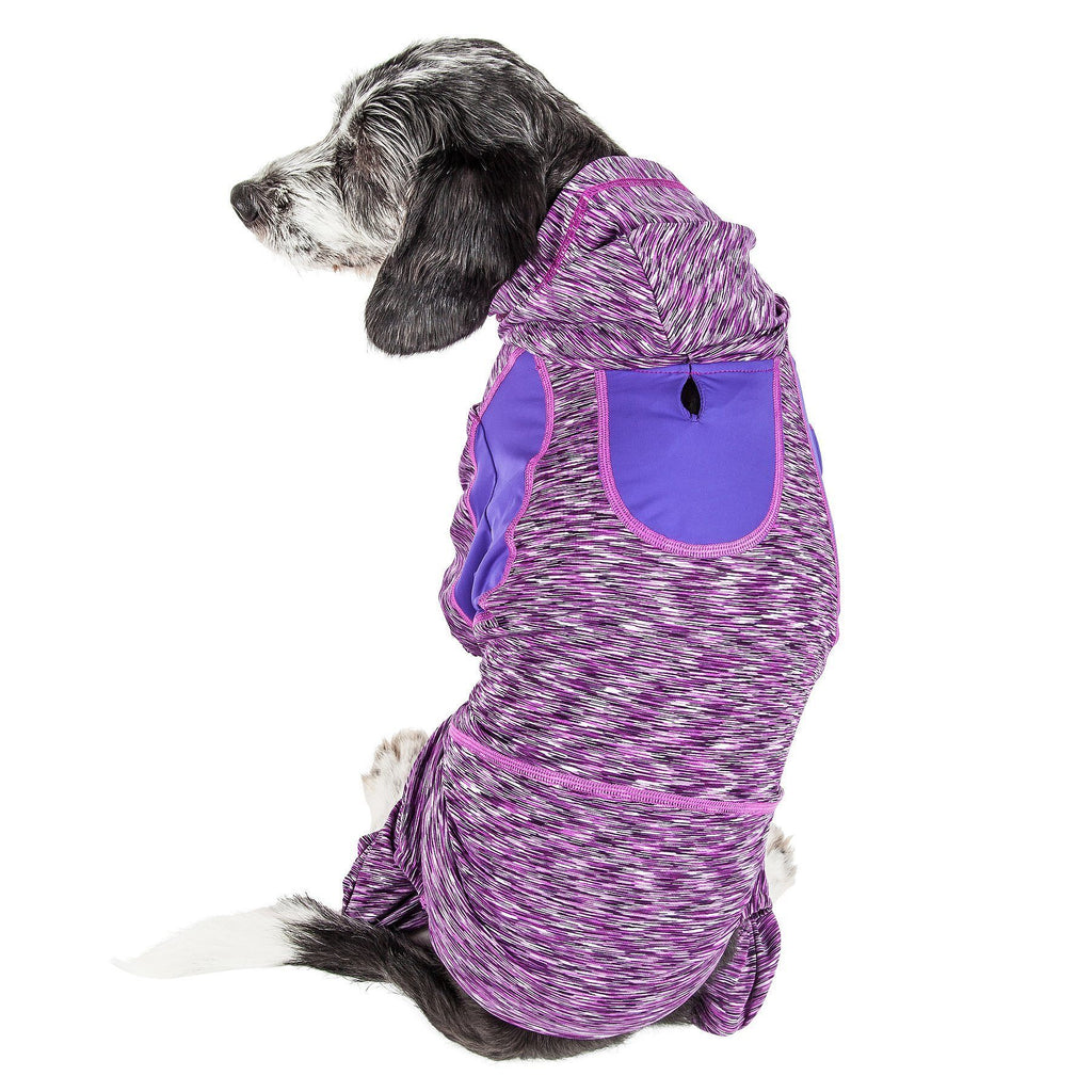 Pet Life ®  Active 'Downward Dog' Heathered Performance 4-Way Stretch Two-Toned Full Body Warm Up Hoodie X-Small Purple