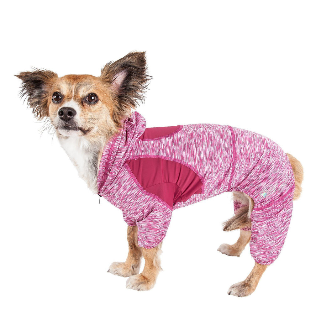 Pet Life ®  Active 'Downward Dog' Heathered Performance 4-Way Stretch Two-Toned Full Body Warm Up Hoodie X-Small Burgundy