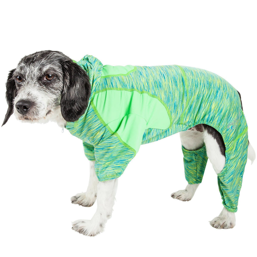Pet Life ®  Active 'Downward Dog' Heathered Performance 4-Way Stretch Two-Toned Full Body Warm Up Hoodie X-Small Green